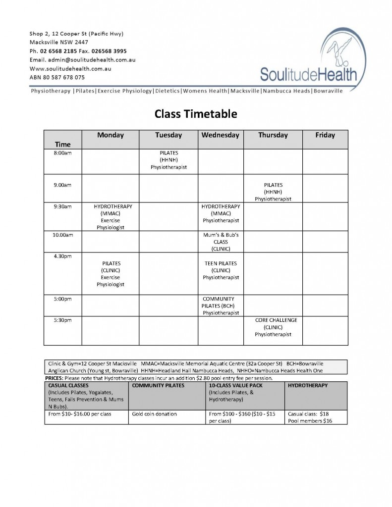 Term 2 and 3 2017 timetable